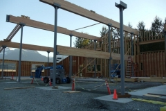 Lam Beams installed and west wall framing nearly complete. 8-2-13